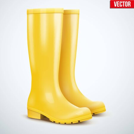 wellies: Pair of yellow rubber rain boots. Symbol of autumn and weather. Vector illustration Isolated on white background. Illustration