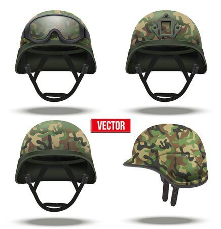 Zestaw taktycznych wojskowych hełmów szybkiej reakcji. kolor kamuflażu. Armia i policja symbolem obrony.