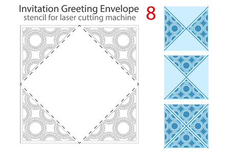 package printing: Envelope template 8 For Laser cutting. Square format. Die of wedding and invitation card. Vector Illustration isolated on white background. Illustration