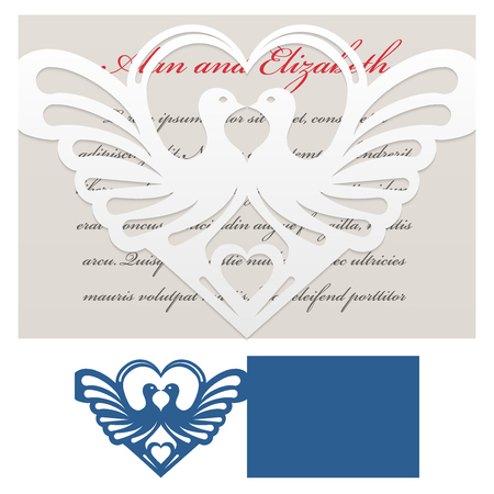 of cuts: Envelope template with doves with heart-shaped For Laser cutting. Die of wedding and invitation card. Illustration