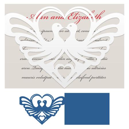 corte laser: plantilla de sobre con las palomas con forma de corazón para corte láser. Morir de boda y tarjeta de invitación.