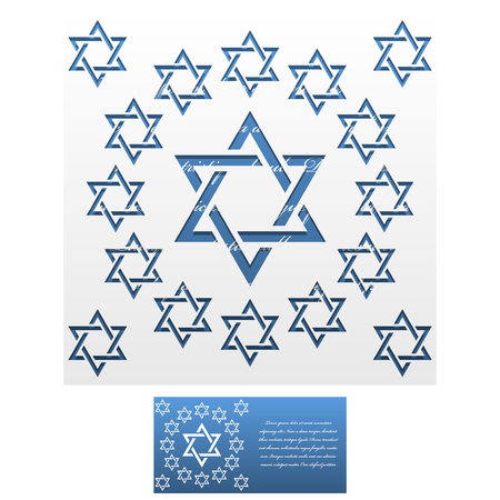 jewish star: Invitation Envelope template of Jewish star of David. For Laser cutting. Square format. Die of wedding and invitation card.