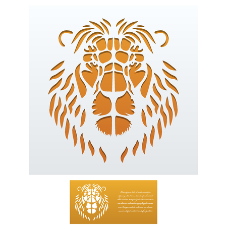 die: Envelope template with Lion Head For Laser cutting. Square format. Die of wedding and invitation card. Vector Illustration isolated on white background.