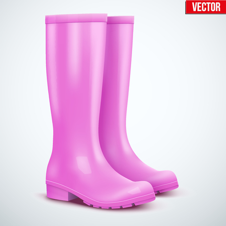 Pair of female pink rubber rain boots. Symbol of garden wok or autumn and weather. Vector illustration Isolated on white background. Stock Illustratie