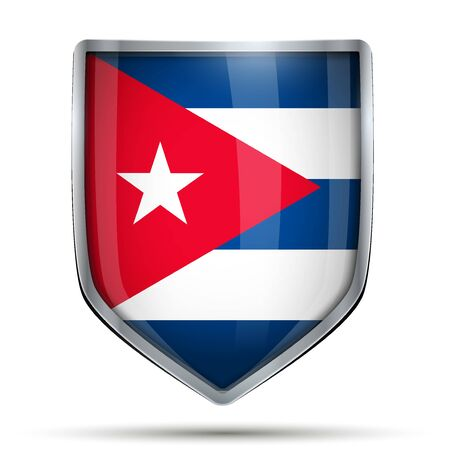 flag of cuba: Shield with flag Cuba. Editable Vector Illustration isolated on white background.