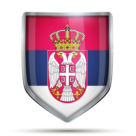 flag banner: Shield with flag Serbia. Editable Vector Illustration isolated on white background.