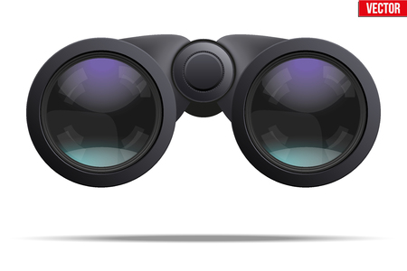 binoculars view: Realistic Binoculars. Optic and lens theme. Original design and Front view. Editable Vector illustration Isolated on white background. Illustration