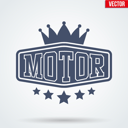 drivers: Vintage Motor Club Signs and Label with stars and crown. Emblem of bikers or drivers and riders. Editable Vector illustration Isolated on background. Illustration