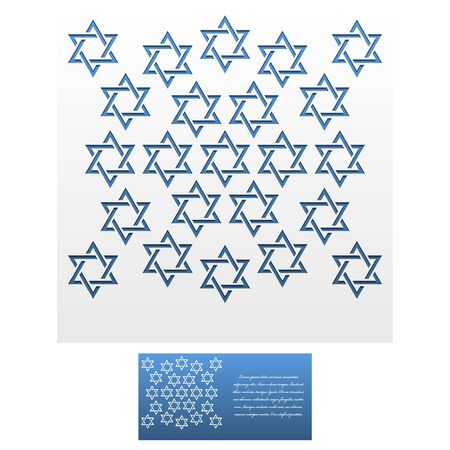 mitzvah: Invitation Envelope template of Jewish star of David. For Laser cutting. Square format. Die of wedding and invitation card. Vector Illustration isolated on white background. Illustration