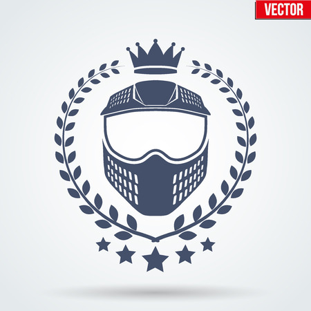 wear mask: Paintball sports Signs and Label with mask and crown. Emblem of tournament or club. Editable Vector illustration Isolated on background. Illustration
