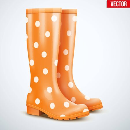 mottled: Pair of mottled speckled orange rubber rain boots. Symbol of garden wok or autumn and weather. Vector illustration Isolated on white background.