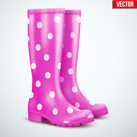 rain boots: Pair of mottled speckled violet rubber rain boots. Symbol of garden wok or autumn and weather. Vector illustration Isolated on white background.
