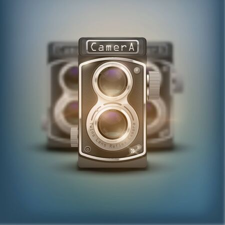 viewfinder vintage: Poster of Vintage twin lens reflex cameras. Front view. Realistic retro design of medium format camera. Vector Illustration isolated on white background.