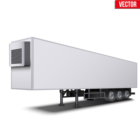 semi trailer: Blank parked van white semi trailer truck refrigerator. Perspective side view. Vector Illustration Isolated on white background Illustration