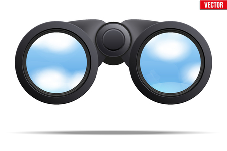 binoculars view: Realistic Binoculars with sky reflection on lens. Original design and Front view. Editable Vector illustration Isolated on white background.
