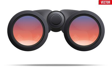 binoculars view: Realistic Binoculars with sunset reflection on lens. Original design and Front view. Editable Vector illustration Isolated on white background. Illustration
