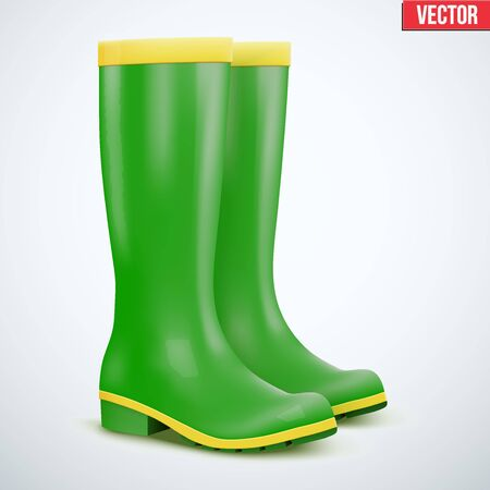 gumboots: Green Garden rubber high boots. Work in the garden or at the cottage. Editable Vector illustration Isolated on background.