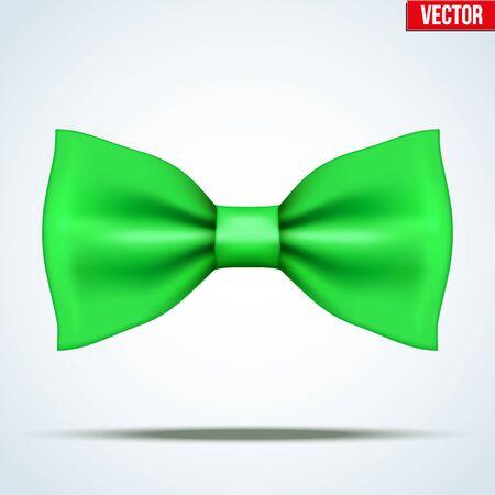 Noeud papillon en soie vert réaliste. Mode et symbole à la mode. Illustration de vecteur editable isolé sur fond.