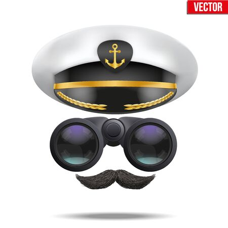 cockade: Symbol of the sea captain with peacked cap and binoculars. Editable Vector illustration Isolated on background.