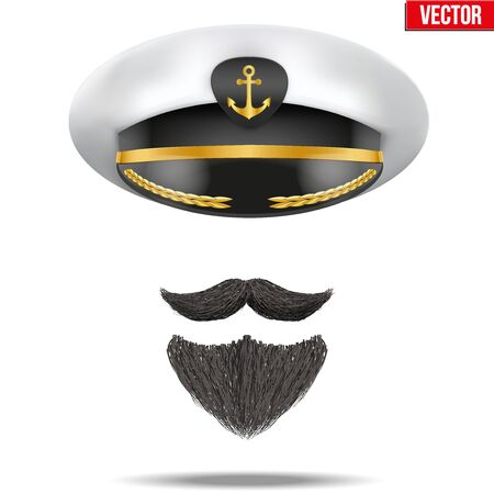 captain cap: Symbol of the sea captain with peacked cap and beard. Editable Vector illustration Isolated on background.