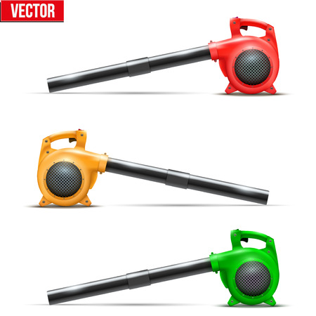 blowers: Set of Bright Leaf garden blowers. Vector Illustration isolated on white background.