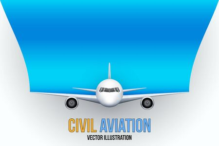 private plane: Front view of Civil Aircraft with space for text. Public or private plane. For business and travel design. Vector Illustration isolated on background.