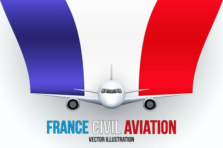 private plane: Front view of Civil Aircraft with flag of France. Public or private plane. For business and travel design. Vector Illustration isolated on background.