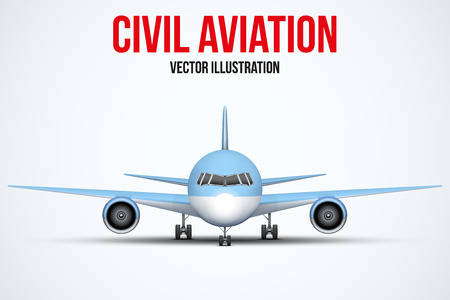 private plane: Front view of Civil Aircraft standing on the chassis. Public or private plane. For business and travel design. Vector Illustration isolated on background.