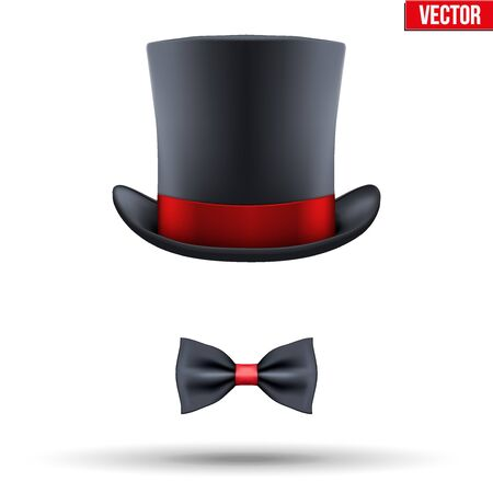 entertainer: Concept of entertainer and master of ceremony Symbol. Hat cylinder with bow tie Vector Illustration isolated on white background. Illustration