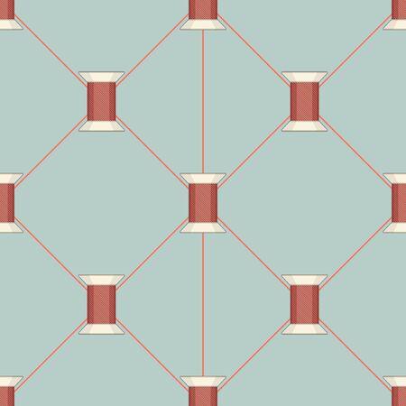 Spool of thread texture seamless pattern. Vector Illustration