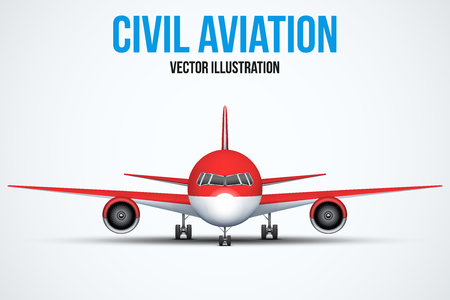 private plane: Front view of Civil Aircraft standing on the chassis. Red color. Public or private plane. For business and travel design. Vector Illustration isolated on background.