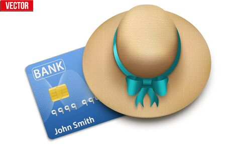 financial freedom: Summer vacation with a credit card closed cap. Background of Tourism, travel and financial freedom.