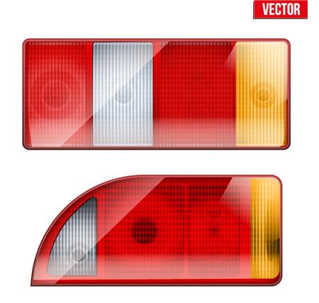 Rechteckige Auto-Rücklicht. Heck- und Bremslicht. Vintage-Vektor-Illustration isoliert auf weißem Hintergrund.