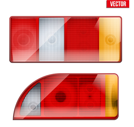 Rectangular car taillight. Rear and brake light. Vintage Vector Illustration isolated on white background.