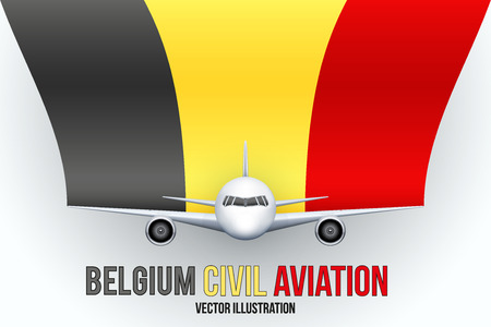 private plane: Front view of Civil Aircraft with flag of Belgium. Public or private plane. For business and travel design. Illustration isolated on background. Illustration