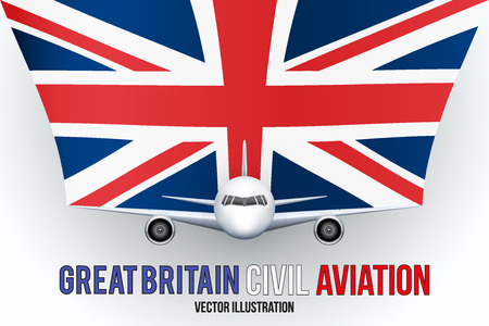 private plane: Front view of Civil Aircraft with flag of Great Britain. Public or private plane. For business and travel design. Illustration isolated on background.