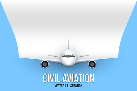 private plane: Front view of Civil Aircraft with flag of France. Public or private plane. For business and travel design. Illustration isolated on background.