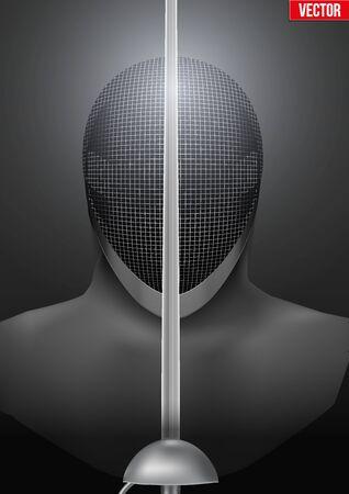 Fencer tenant une épée devant le masque. Arrière-plan de symbole d'escrime. Épées et masque de casque. illustration.