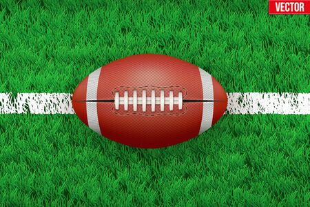 grass area: White line and american football ball on grass field. Closeup sport background. Editable illustration Isolated on background.
