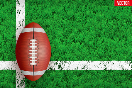 White line on grass field. Closeup For various sport background. Editable illustration Isolated on background.