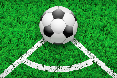 White line and soccer football ball on grass field. Closeup sport background. Editable illustration Isolated on background.