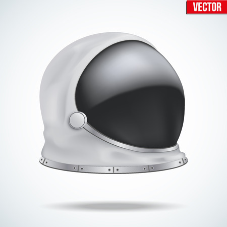 Astronaut helmet with big glass and reflection. Side view. Illustration isolated on white background. Illustration