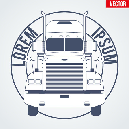 Truck symbol for delivery and cargo company. Monochrome design.  Illustration isolated on background.