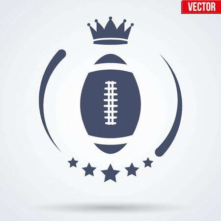 football ball: American Football or Rugby Club Badge and Label with ball. Emblem of sport team. Vector icons isolated on background.