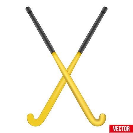Twee klassieke gele sticks voor hockey. Uitzicht vanaf verschillende kanten. Sportuitrusting. Bewerkbare vector illustratie geïsoleerd op een witte achtergrond.