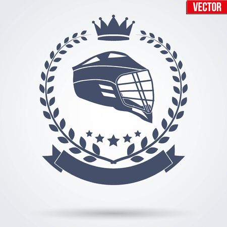 Lacrosse Club Badge and Label with helmet. Side view. Emblem of sport team. Vector icons isolated on background.