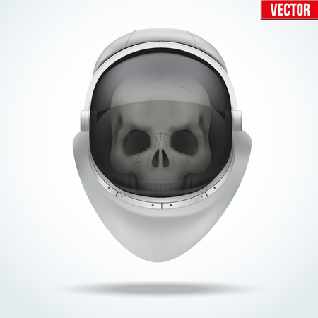 visor: Astronaut space helmet with skull behind visor glass. Front view. Vector Illustration isolated on white background.