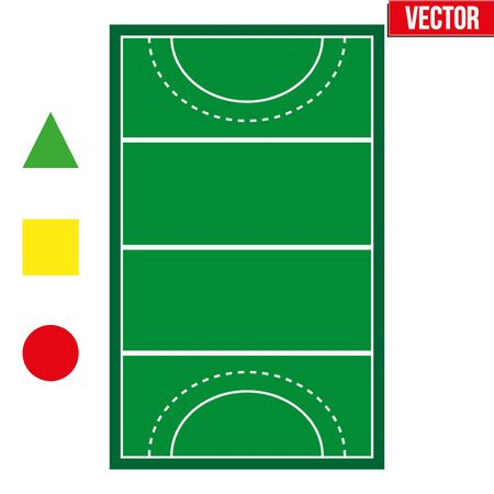 penalty: Sample sport hockey fields and penalty cards in a simple outline. Flat design. Editable Vector illustration Isolated on white background. Illustration