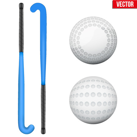 Two classic blue sticks and balls for field hockey. View from different sides. Sport Equipment. Editable Vector illustration Isolated on white background.
