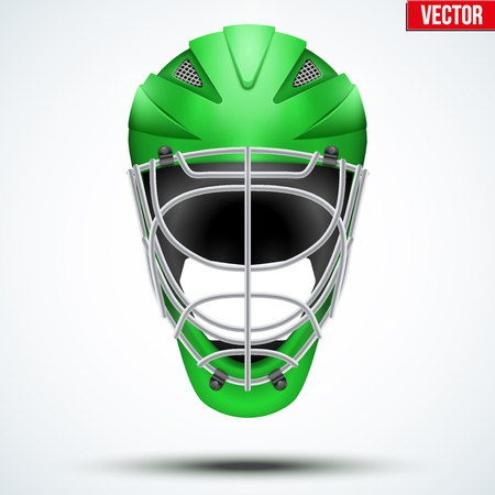 icehockey: Classic blue Goalkeeper Ice and Field Hockey Helmet isolated on Background. Sport Equipment. Editable Vector illustration isolated on white background.
